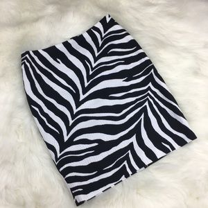Talbots Zebra Animal Print Sexy Pencil Skirt 2P